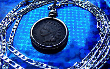 """pre 1907 Copper Indian Head Penny Pendant on a 30"""" 925 Sterling Silver Chain"""