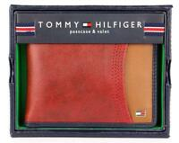 NEW TOMMY HILFIGER MEN'S PREMIUM LEATHER DOUBLE BILLFOLD WALLET RED 31TL220014