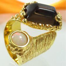 B141 Unikat Ring 925 Silber Schmuck vergoldet Rauchquarz Opal Stein Handarbeit