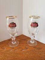 "Stella Artois Belgium Beer, Star Chalice 40 cl Glasses, Gold Rimmed 8"" Set of 2"