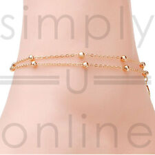 Layer Bead Ankle Chain Gold Plated Adjustable Double