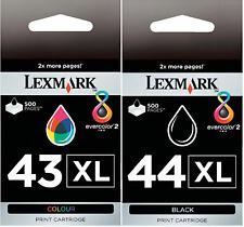 New Genuine Lexmark 43XL 44XL 2PK Ink Cartridges X Series X4850 X4875 X4950