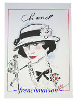 AUTHENTIC CHANEL COCO Sketch Karl Lagerfeld Card Brooch Necklace Jacket Handbag