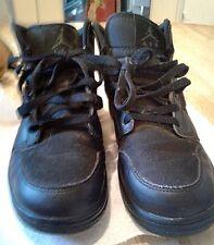 NIKE AIR JORDAN BLACK RETRO BIG KIDS SHOES #554275-011- SUEDE UPPERS -SIZE 5.5Y