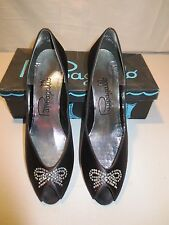Vtg 60's Pappagallo Black Satin Rhinestones Peep Toe shoes  Pinup NIB