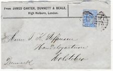 # 1903 LONDON WC12 DUPLEX 2½d PERFIN COVER JAMES CARTER DUNNET & BEALE > DENMARK