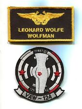LEONARD WOLFMAN WOLFE NAME TAG TOP GUN MOVIE COSTUME US Navy Squadron Patch Set