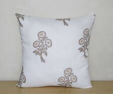 "New Indian Hand Block Printed Gold Floral 16"" Cushion Covers  Pillow Case Covers"