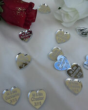 Personalised Heart Wedding Favours x50 Decorations MrMrs Mirror Acrylic Confetti