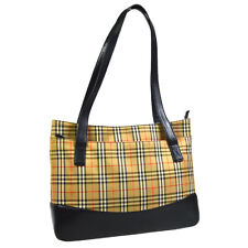 BURBERRY House Check Pattern Shoulder Bag Beige Black Canvas Leather 32797