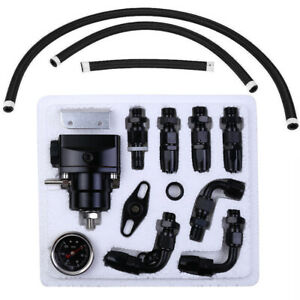 Universal Adjustable Fuel Pressure Regulator Oil Gauge 100PSI AN6 Fitting Kit