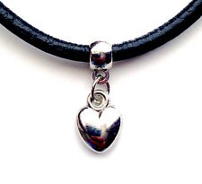 Leather Choker Charm Necklace Vintage Hippy Retro Black Cord Pendant Heart
