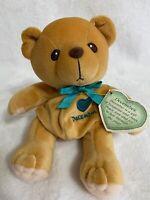 Vintage Cherished Teddies Plush Tan Teddy Bear December Turquoise 1999