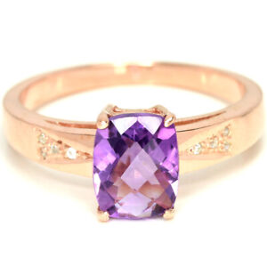 NATURAL AAA PURPLE AMETHYST CUSHION & WHITE CZ STERLING 925 SILVER RING 9.25