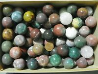 Agate And Or Jasper Marbles  3 Of 7/8 Inch To 1 Inch Natural Gemstones Vintage