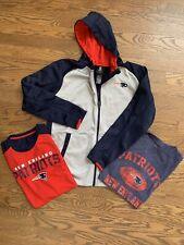 Lot Of 3 New England Patriots NFL Hoodie Sweatshirt Zipper & T Shirt Youth L/XL