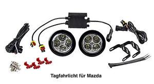 LED Tagfahrlicht 8 SMD rund Ø70-90mm E-Prüfzeichen R87 6000K E4 für Mazda TFL2