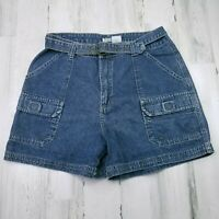 Womens Size 12 St Johns Bay High Rise Cargo Hiking Bermuda Belted Jean Shorts