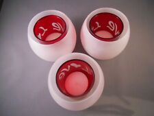 3 Valentine Tealight Double Glass Candle Holders Frosted White & Red LOVE Hearts