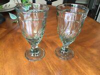 """Two (2) NORITAKE SWEET SWIRL GREEN Wine Water Iced Tea Goblets 7 3/8"""""""