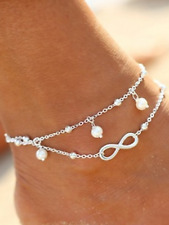 22cm 925 silver jewellery present gift Ladies Infinite love pearl double anklet
