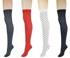 Women's Polka Dots Over The Knee High Costume Socks 4-6 UK Lot