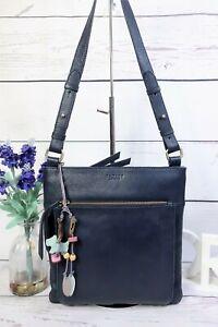 RADLEY Crossbody Messenger Shoulder Bag Medium Blue Leather ~ Dog Tag Charm