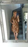 WOMENS VTG RETRO BROWN BRIGHT BOLD ABSTRACT 90'S FLOWY TEA DRESS VGC UK 14-16