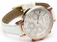 Spirit Ladies Rose Gold Bezel White Strap Watch.
