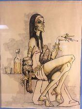 VINTAGE MARGARITA BERTHEAU WATERCOLOR PAINTING WOMAN CARICATURE 1972 COSTA RICA