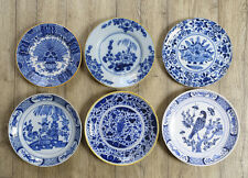 Antique Collection of 6 Dutch Delft Plates Flowers/Floral,Peacock,Parrot,Chinois