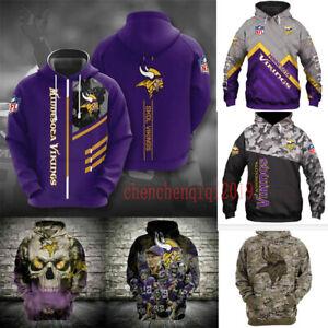 Minnesota Vikings Hoodie Unisex Hooded Pullover Sweatshirt Casual Jacket Coat