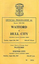 Football Programme - Watford v Hull City - Div 3 - 24/8/1965