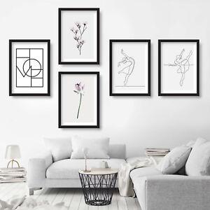 Set of 5 wall ART PRINT of ORIGINAL flower PHOTO & Sketch Ballerina POSTER decor