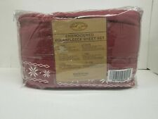 Berkshire Blanket Embroidered Wine PolarFleece Queen Sheet Set