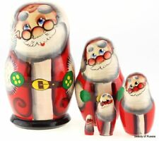 Christmas Santa in glasses Wood Russian Nesting Doll 5 Pcs#10s