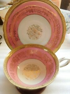 STUNNING HOT PINK  Shafford  HAND PAINTED JAPAN Tea Cup and Saucer Set