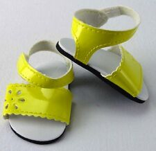 "Doll Clothes AG 18"" Sandals Shoes Strap Flower Yellow Fits American Girl Dolls"