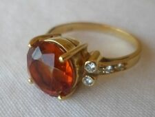 18K Yellow Gold Solitaire Madeira Citrine Diamond Ring - 4.1 grms, Size 4