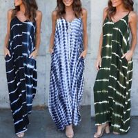 UK Womens Summer Bohemia Beach Sun Dress Sleeveless Tie-Dye Long Maxi Dress