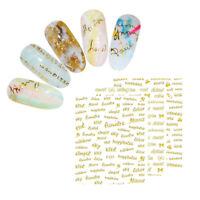 3D Nail Sticker Gold English Alphabet Transfer Decals  Nail Art Decors