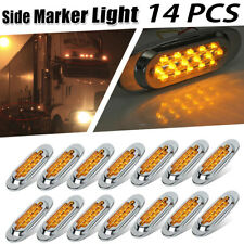 "14x 6-1/2"" Amber LED Truck Marker Light Side turn For Peterbilt Chrome 16 LED"
