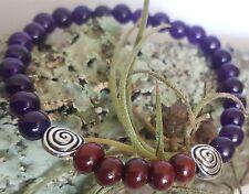 """Rose Wood Silver Celtic Spiral Amethyst Purple Gem Beaded Stretch Bracelet  7.5"""""""
