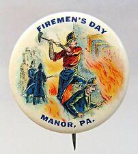 1920's FIREMEN'S DAY MANOR Pennsylvania pinback button w/ backpaper FIREMAN +