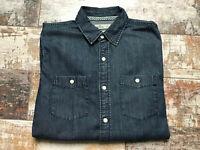 Hollister Men's Denim Blue Cotton Long Sleeve Shirts Size M
