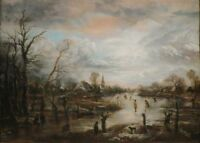 """oil painting handpainted on canvas""""Winter Scene with Figures Playing Kolf """"N6233"""