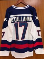 NEw Movie Men 1980 Miracle On Ice Team USA Jack O'Callahan 17# Hockey Jersey whi