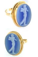 Ring Gold 750 Achat blau Golfspieler Camee Goldring 18 Karat Gelbgold Golf