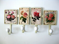Nostalgie Blech Hakenleiste Rosen Antik 4 Haken 38cm Breite Rose Shabby