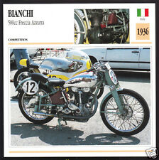 1936 Bianchi 500cc Freccia Azzurra Blue Arrow Motorcycle Photo Spec Info Card